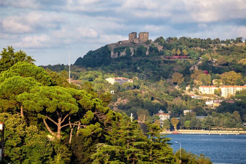 Vue bourdonnée de château de Yoros de Sariyer Le château de Yoros est un château ruiné bizantin au confluent du Bosphorus photo libre de droits