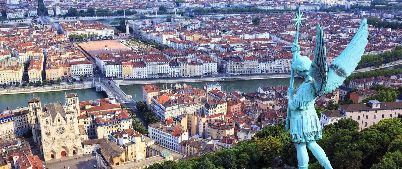 Vue célèbre de Lyon image libre de droits