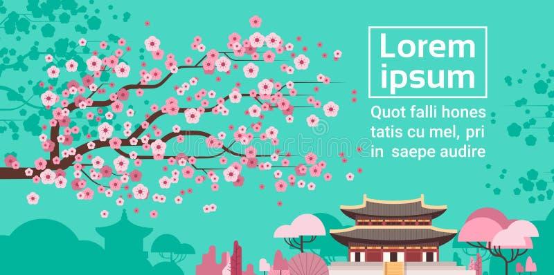 Vue célèbre de point de repère de Sud-Coréen de Sakura Blossom Over Korea Temple ou de paysage de palais illustration libre de droits