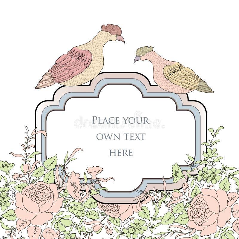 Vue Carte florale de ressort Décoration d'oiseaux et de fleurs illustration stock