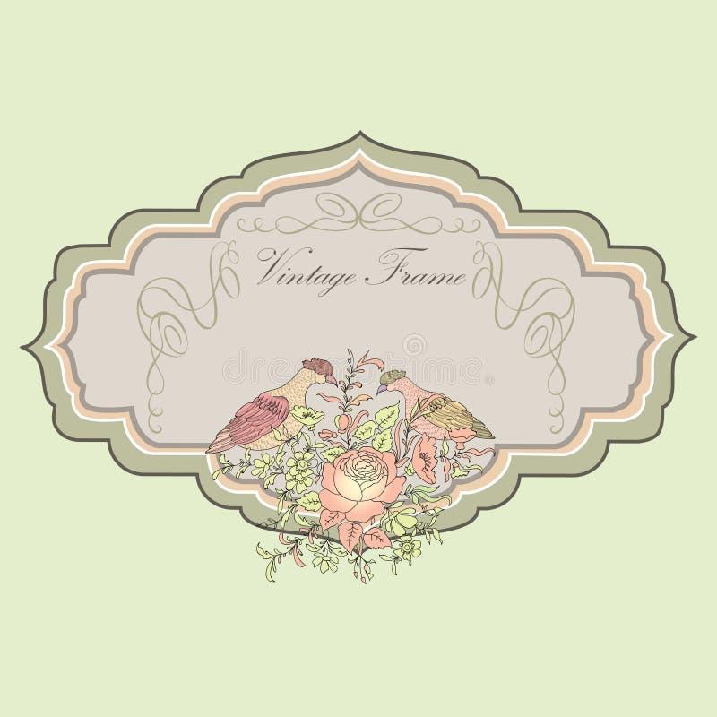 Vue Carte florale de ressort Label de vintage d'oiseaux et de fleurs illustration libre de droits