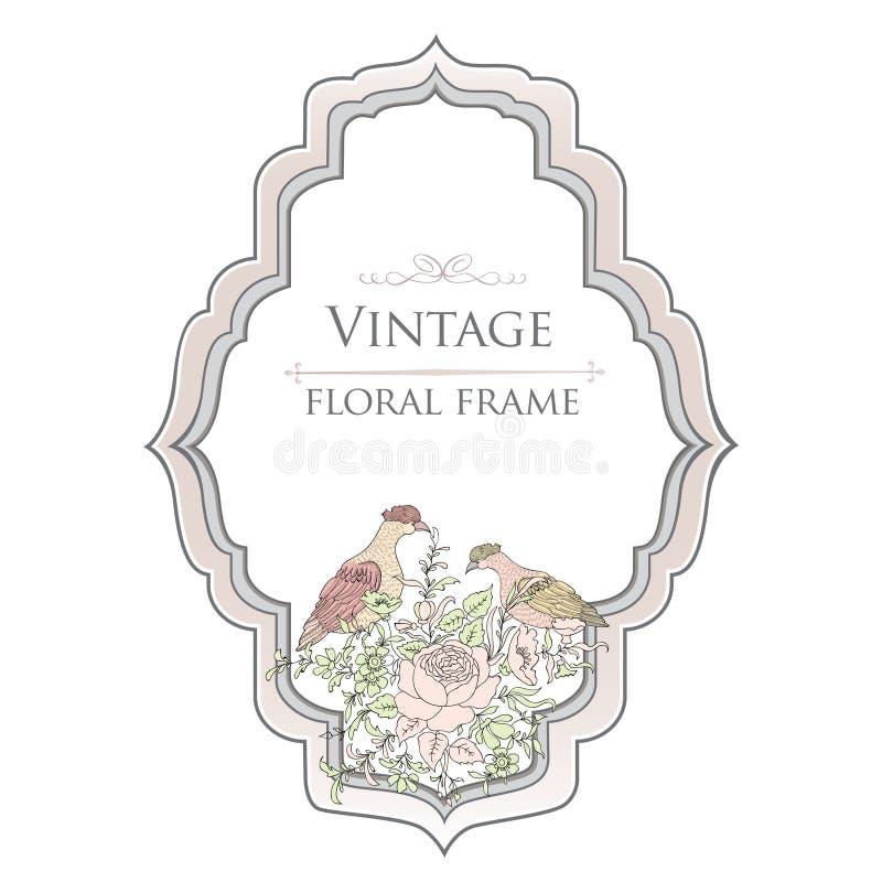 Vue Carte florale de ressort Label de vintage d'oiseaux et de fleurs ou b illustration de vecteur