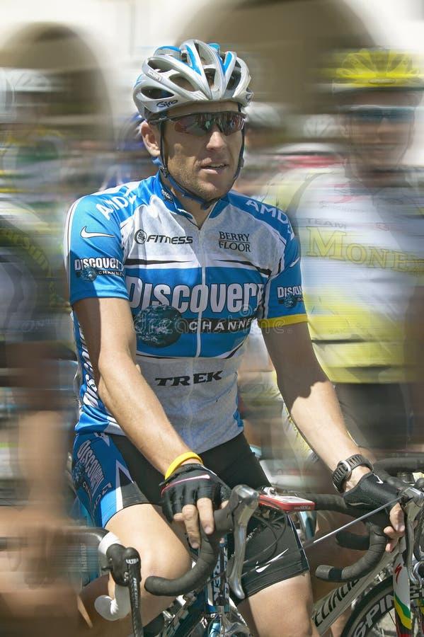 Vue changée par Digital de Lance Armstrong (#120) concurrençant dans Ojai, CA photos stock
