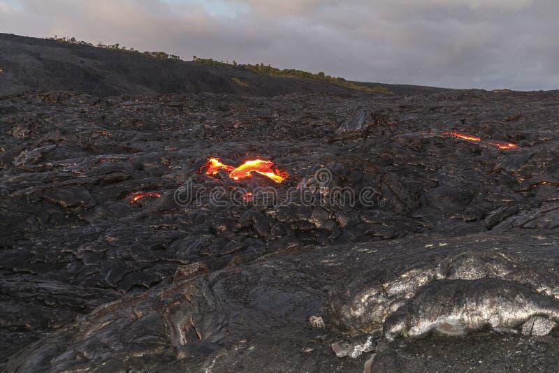 Vue chaude de lave sur la grande île d'Hawaï photo libre de droits