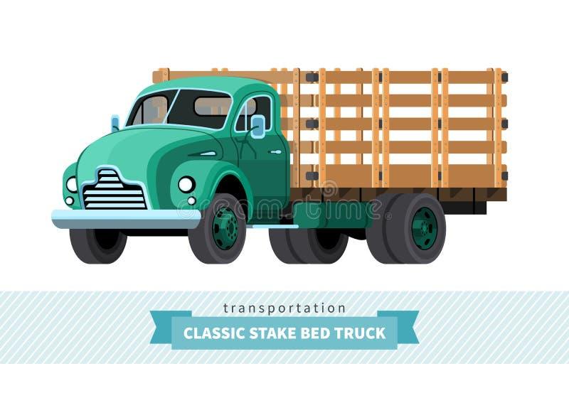 Vue classique de partie antérieure de camion de lit d'enjeu illustration libre de droits