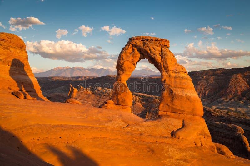 Vue classique de vo?te sensible c?l?bre au coucher du soleil, Utah, Etats-Unis images libres de droits
