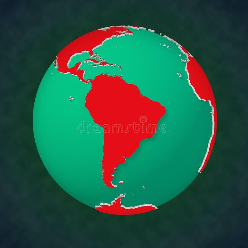 Vue continentale Amérique du Sud de la terre illustration de vecteur