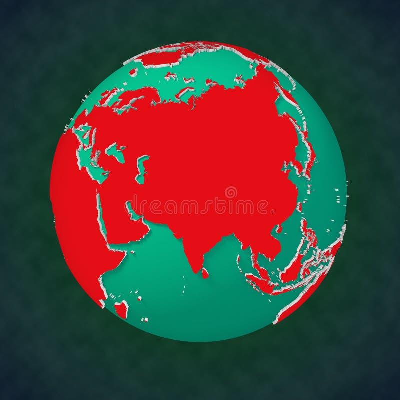 Vue continentale Asie de la terre illustration stock