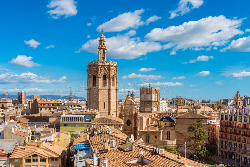 Vue courbe au-dessus d'horizon de Valencia Spain images libres de droits