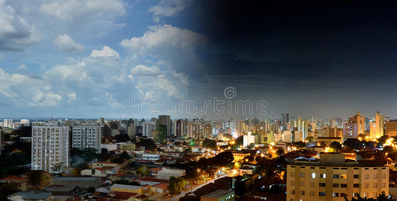 Vue courbe de Campinas - PS au Brésil Jour et nuit image libre de droits