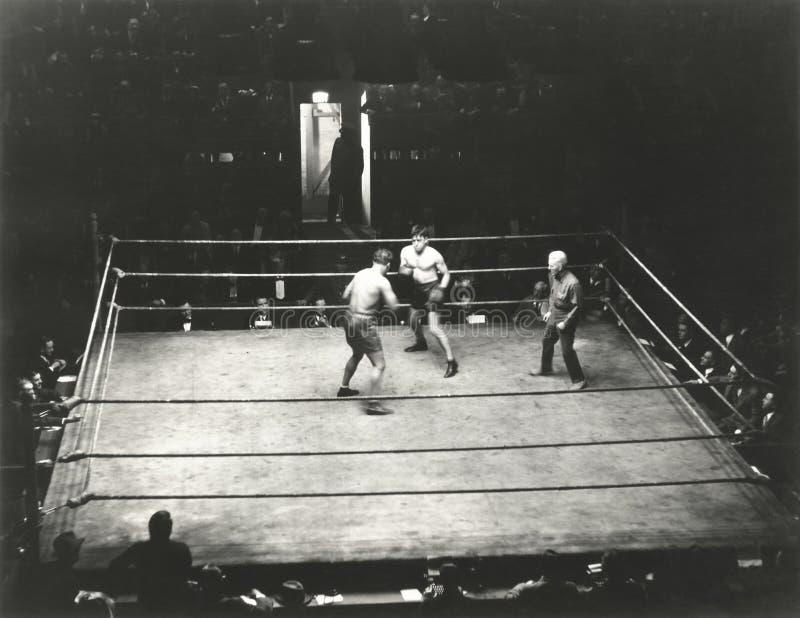 Vue courbe de match de boxe photographie stock libre de droits