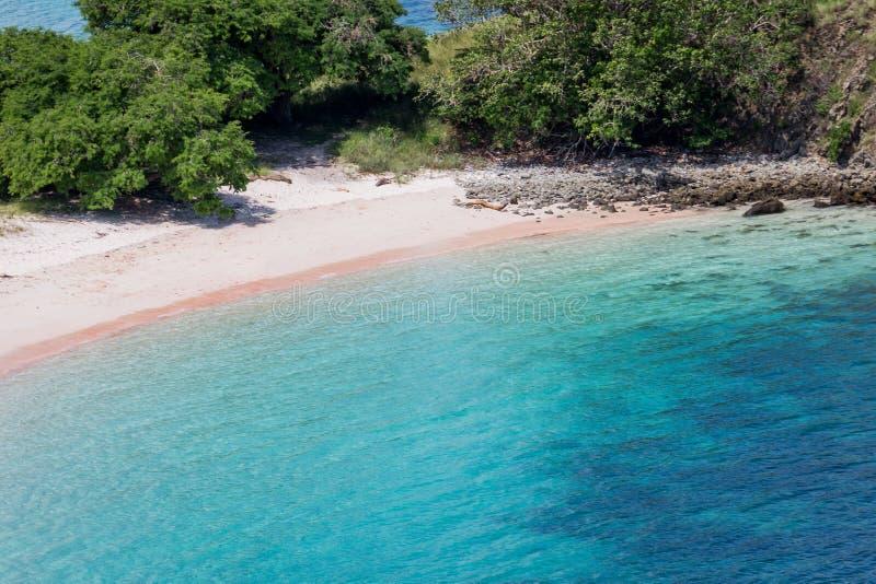 Vue courbe de plage rose photos stock