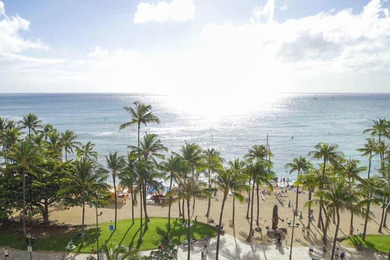 """Vue courbe de plage de waikiki, ahu d'O """", Hawaï images libres de droits"""