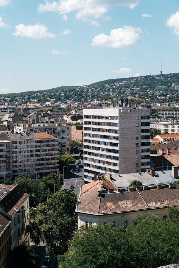 Vue courbe de secteur résidentiel à Budapest photos libres de droits