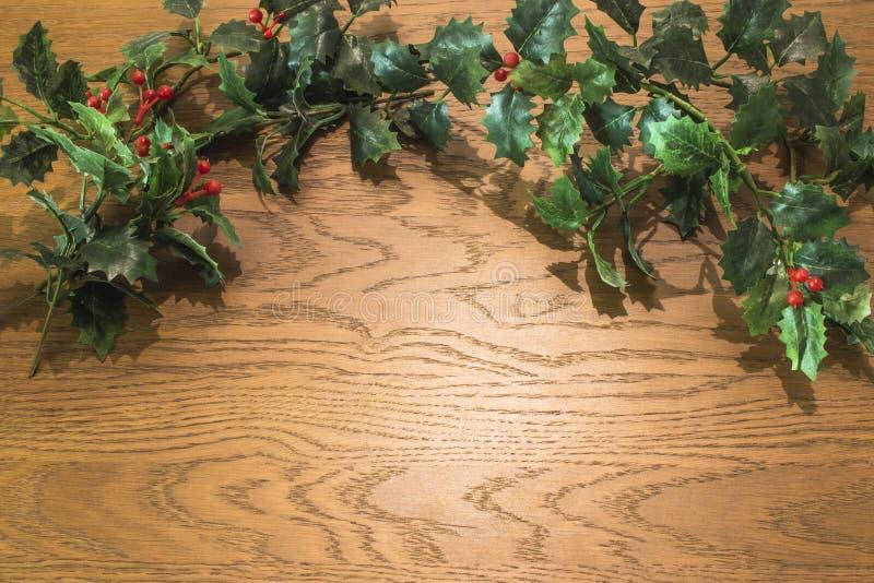 Vue courbe des décorations de Noël sur le fond en bois photos libres de droits