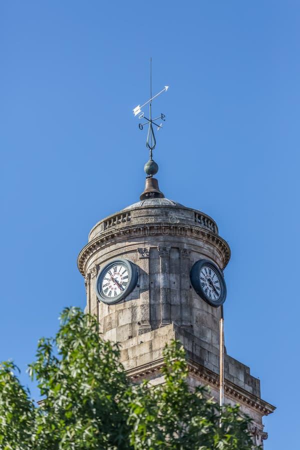Vue décorative d'élément de tour au bâtiment de Palacio DA Bolsa, sur Porto photographie stock