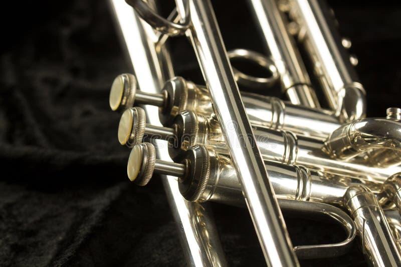 Vue détaillée de trompette avec le bouton et les valves de trois doigts image stock