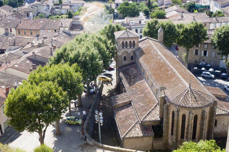 Vue d'église de Gimer de saint de ci-dessus à Carcassonne image libre de droits