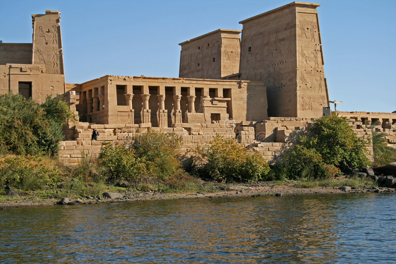 Vue d'île de temple de Philae - Aswan Egypte photos libres de droits