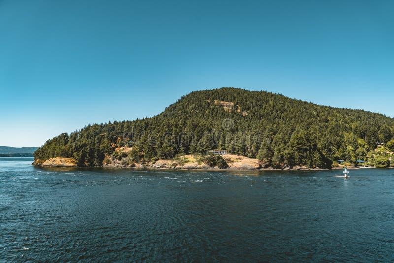 Vue d'île de Vancouver sur un Canada clair de ciel bleu et de Côte Pacifique image libre de droits