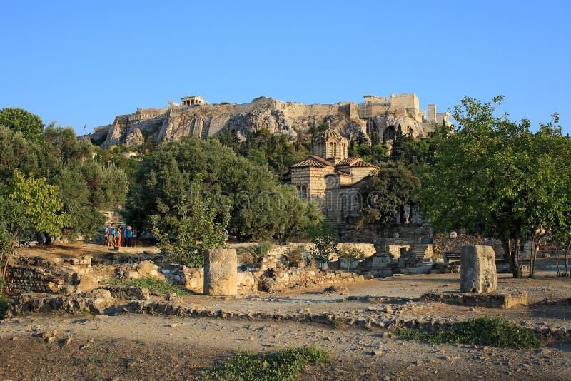Vue d'Acropole de l'agora antique photos libres de droits