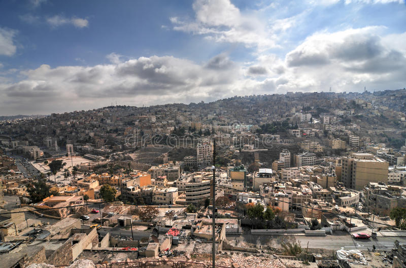 Vue d'Amman, Jordanie de la citadelle image stock