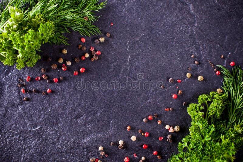 Vue d'aneth et de persil avec des épices image stock