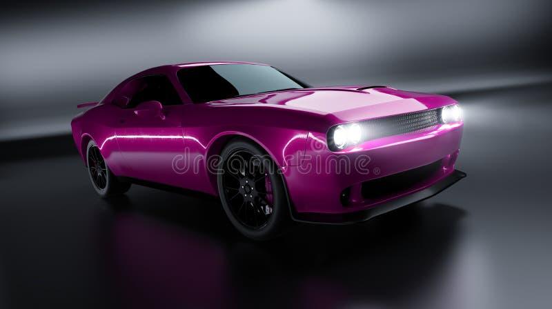 Vue d'angle avant d'une voiture américaine brandless de muscle de rose générique illustration stock