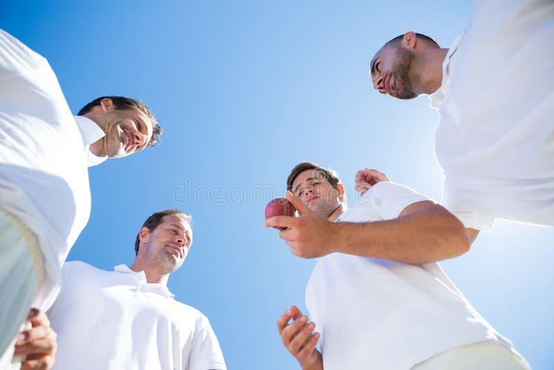 Vue d'angle faible d'équipe de cricket se tenant sur le champ photographie stock libre de droits