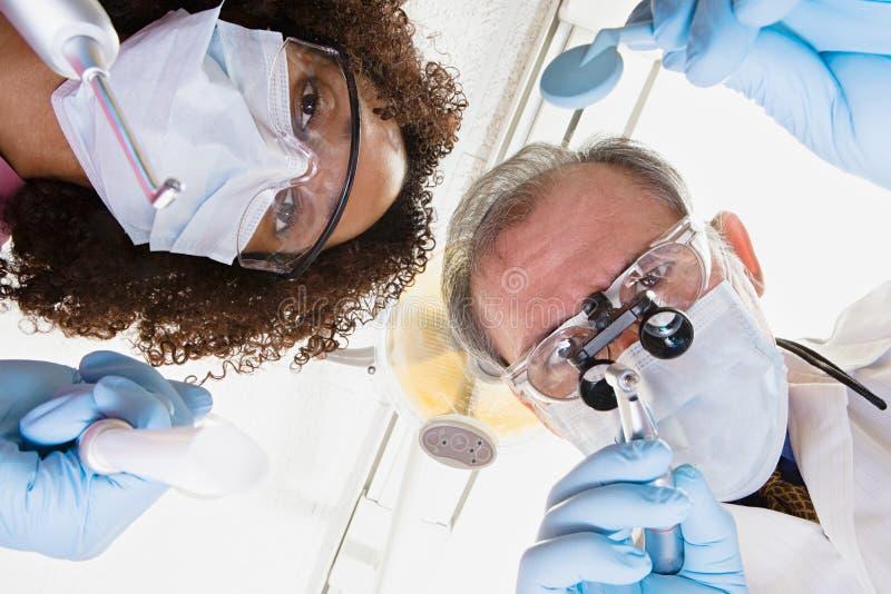 Vue d'angle faible de dentiste et d'infirmière dentaire photo stock