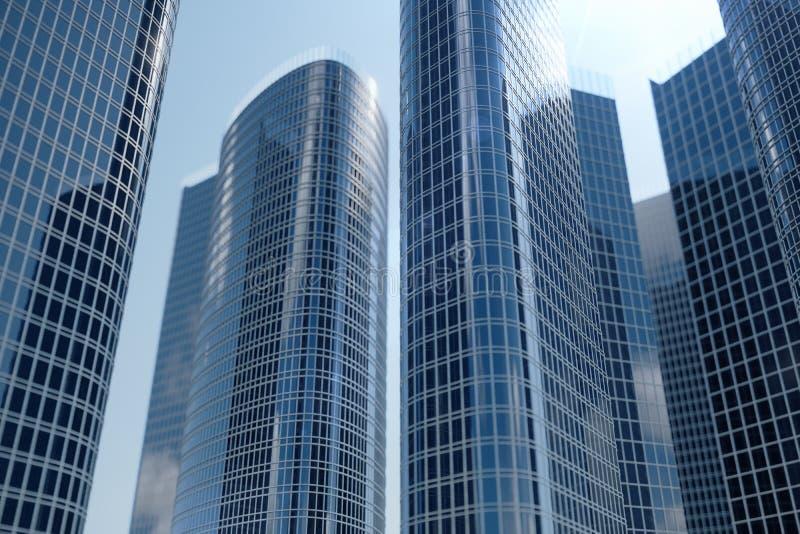 vue d'angle faible de l'illustration 3D des gratte-ciel Gratte-ciel à dans le jour recherchant la perspective Vue inférieure des  images stock