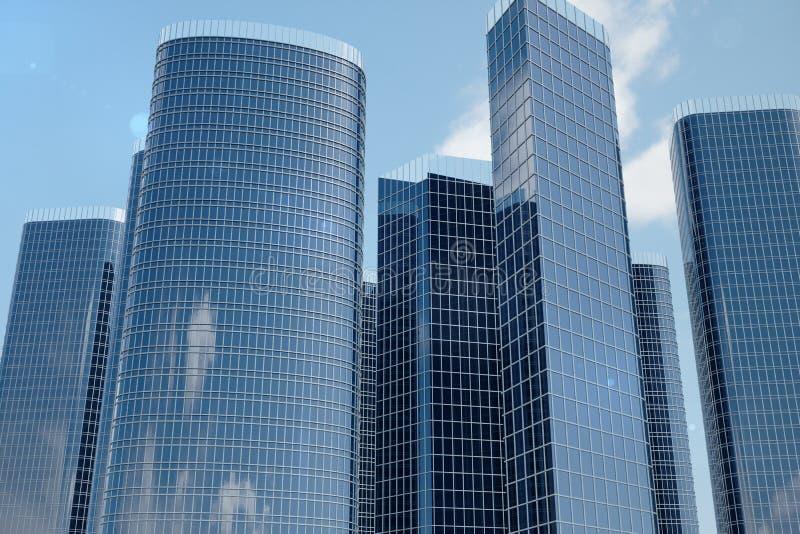 vue d'angle faible de l'illustration 3D des gratte-ciel Gratte-ciel à dans le jour recherchant la perspective Vue inférieure des  photos stock