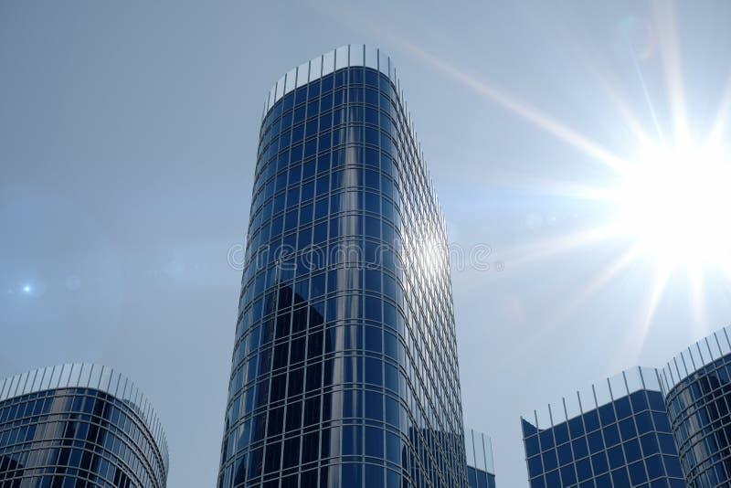 vue d'angle faible de l'illustration 3D des gratte-ciel Gratte-ciel à dans le jour recherchant la perspective Vue inférieure des  photographie stock