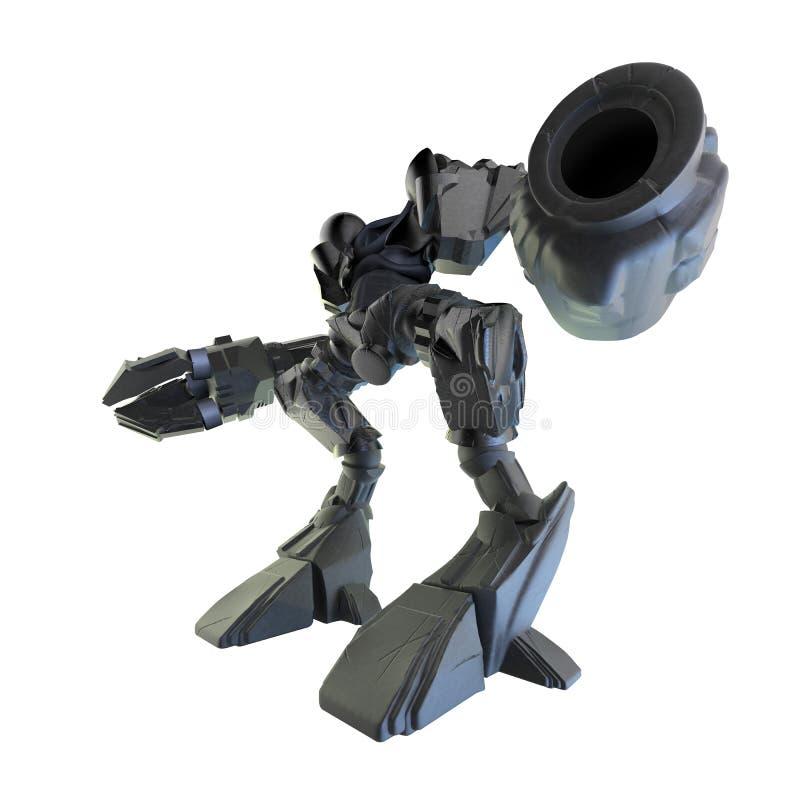 Vue d'angle d'isolement de guerrier de robot illustration de vecteur