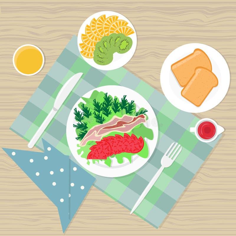 Vue d'angle supérieur de nourriture de Tableau de petit déjeuner illustration de vecteur