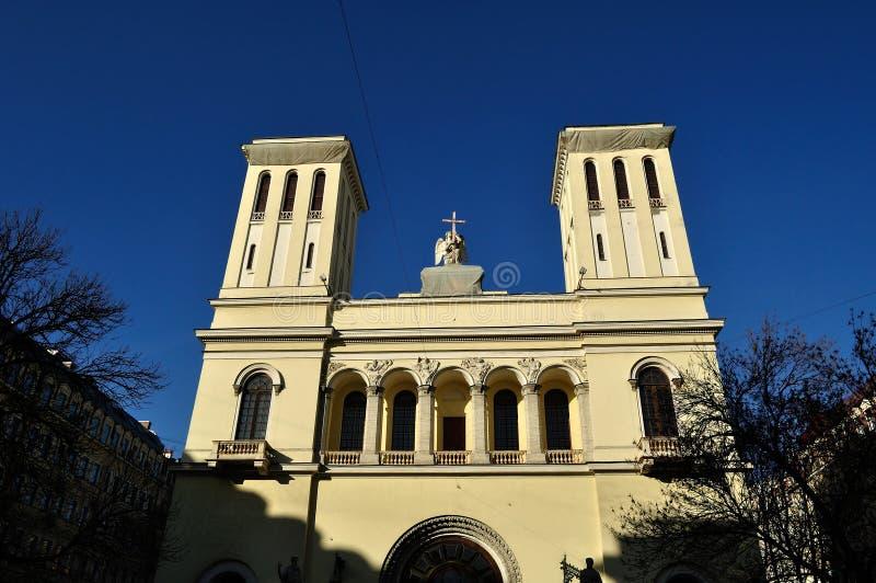 Vue d'architecture d'église de Peter et de Paul Lutheran à St Petersburg, Russie photographie stock