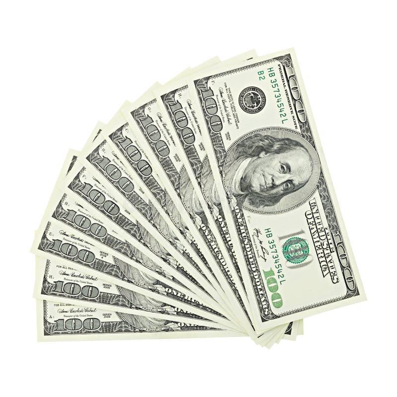 Vue d'argent américain de fan supérieure cent billets d'un dollar d'isolement sur le chemin de coupure blanc de fond Billet de ba photo libre de droits