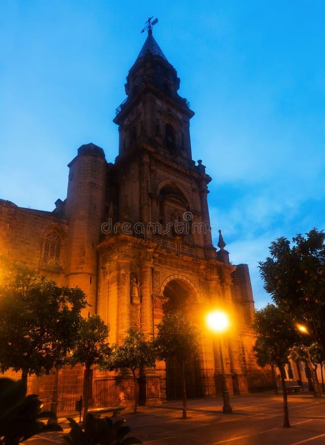 Vue d'aube d'église de San Miguel La Frontera de Jerez De photo stock