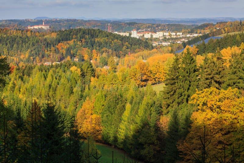 Vue d'automne de Nachod, République Tchèque image libre de droits