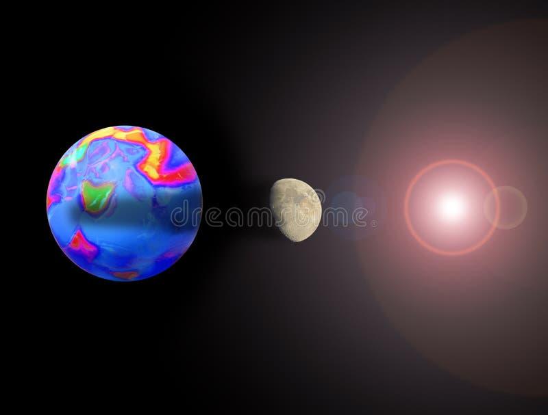Vue d'?clipse solaire d'espace extra-atmosph?rique photo libre de droits