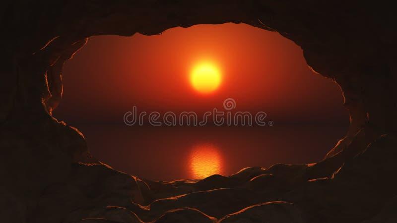 vue 3D d'une caverne sur la mer de coucher du soleil illustration de vecteur