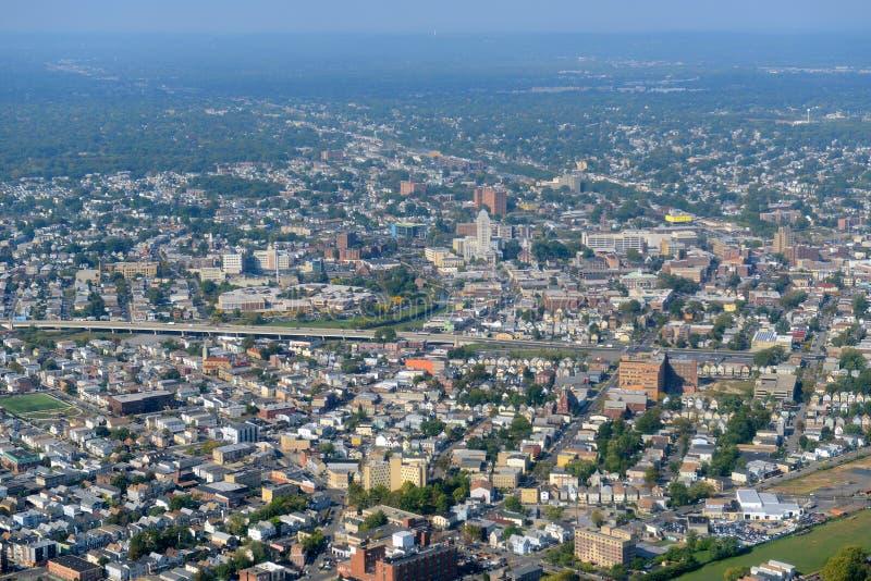Vue d'Elizabeth Aerial, New Jersey, Etats-Unis images libres de droits