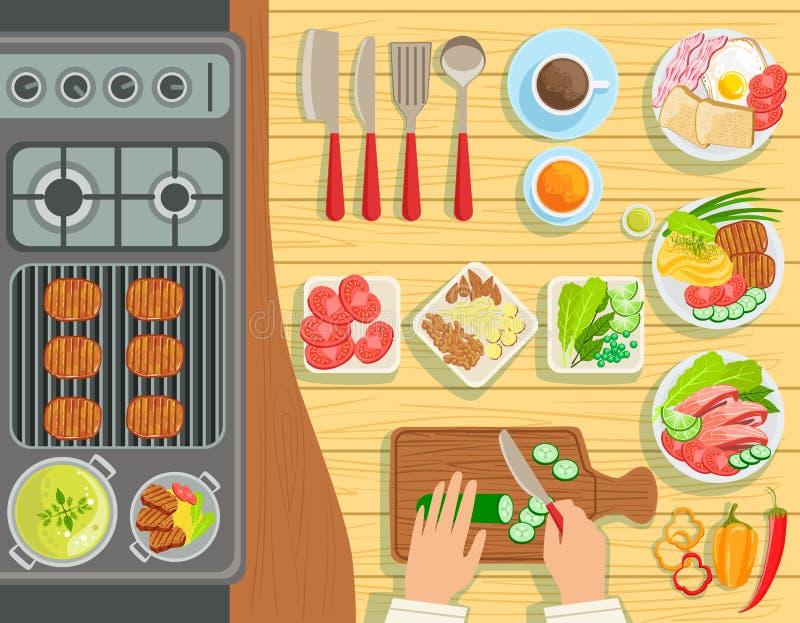 Vue d'ensemble d'éléments de procédé de cuisson de gril de café d'en haut illustration libre de droits