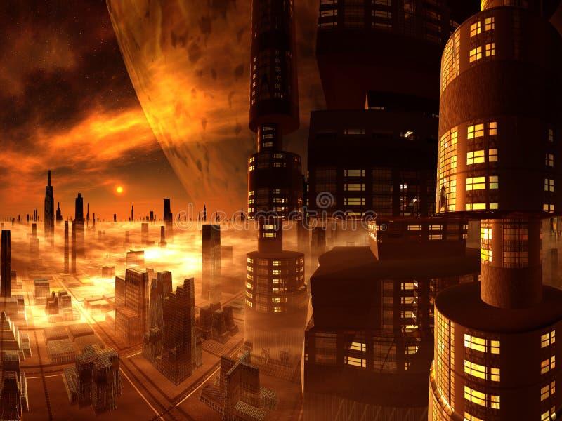 Vue d'ensemble de la future ville de la tour de gratte-ciel illustration libre de droits