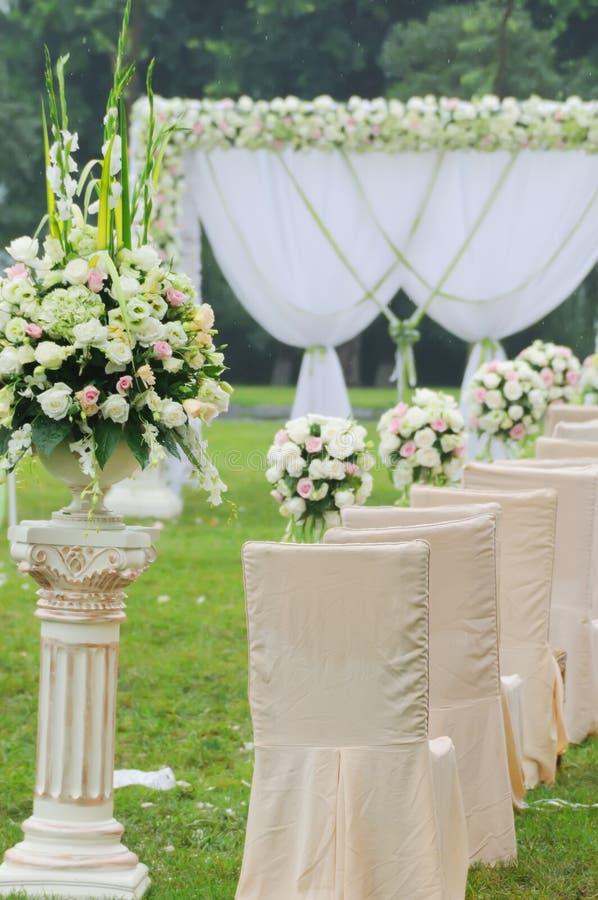 Vue d'ensemble de réception de mariage images stock