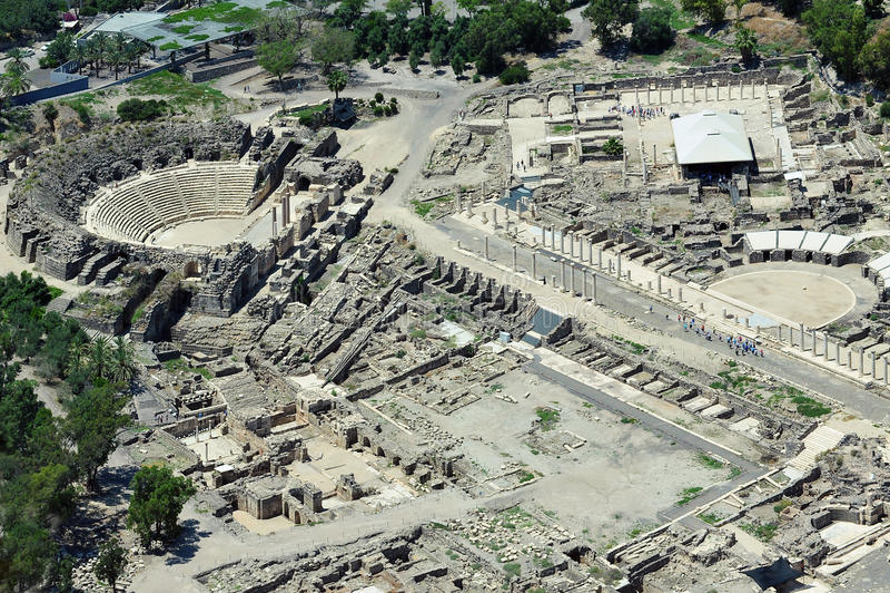 Vue d'Erial de Beit antique Shean en Israël images libres de droits