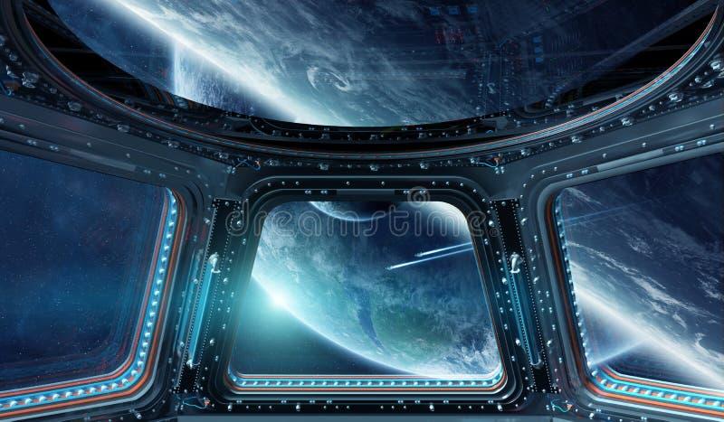 Vue d'espace extra-atmosphérique d'un ele de rendu de la fenêtre 3D de station spatiale illustration libre de droits