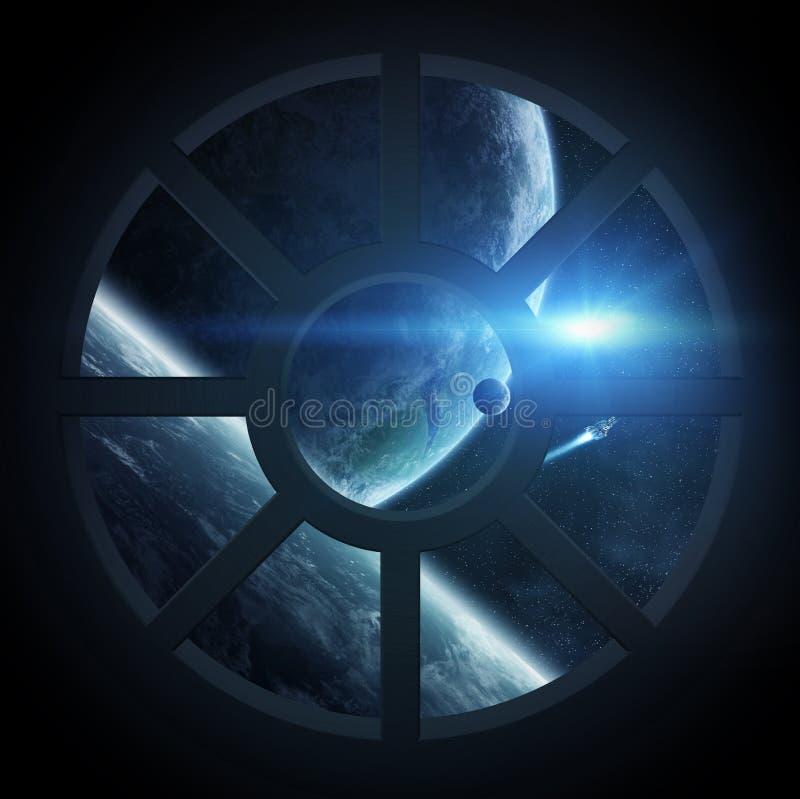 Vue d'espace extra-atmosphérique d'une carlingue de vaisseau spatial illustration stock
