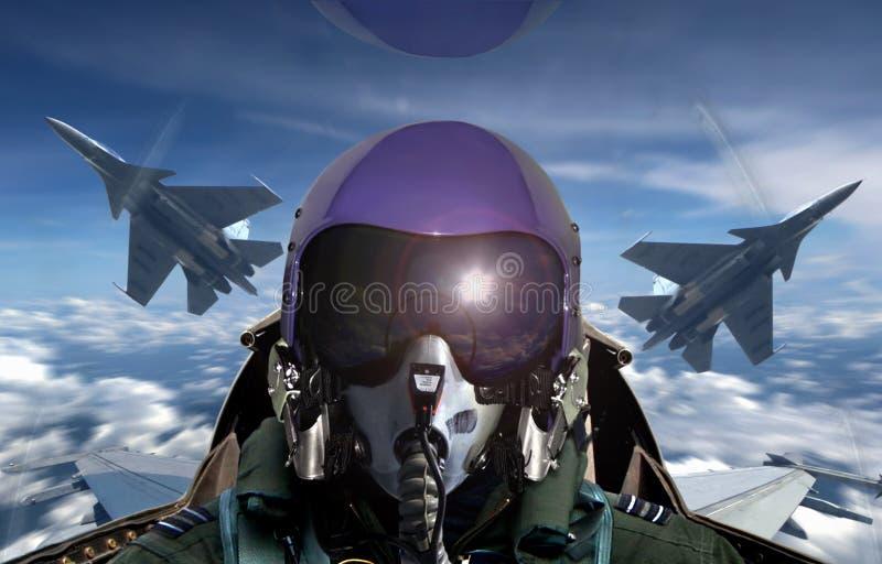 Vue d'habitacle de pilote d'avion de chasse pendant le lever de soleil photos stock