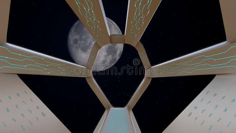 Vue d'habitacle de vaisseau spatial, voyage à la lune illustration stock
